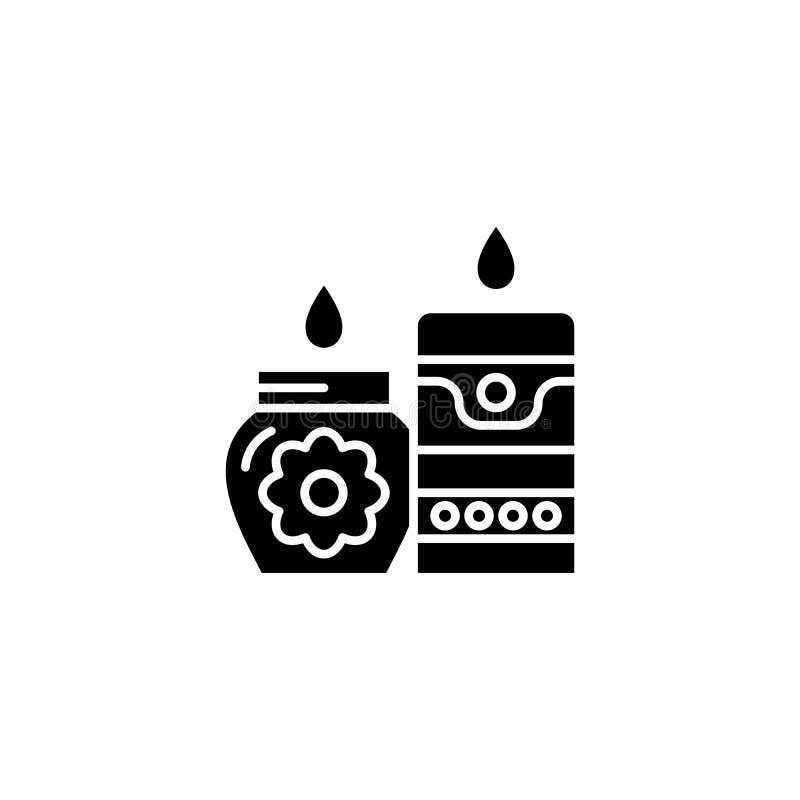 在温泉黑色象概念的蜡烛 在温泉平的传染媒介标志,标志,例证的蜡烛 皇族释放例证
