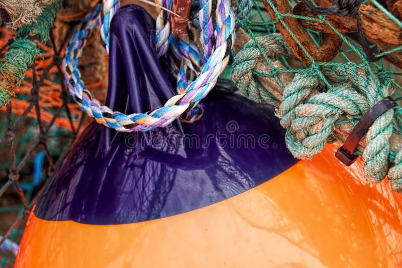 在港口的鱼齿轮 免版税库存照片