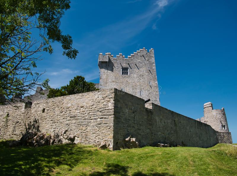 在港湾Leane湖的城堡在基拉尼附近 免版税库存照片