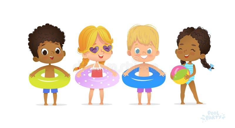 在游泳场的愉快的多种族朋友戏剧 乐趣党孩子放松暑假 有圆环的黑女孩泳装 向量例证