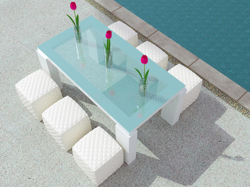 在游泳池旁边的Dinning桌 库存例证