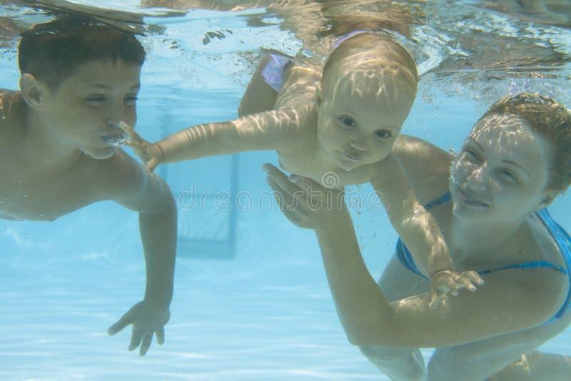 在游泳池的水下的系列 免版税库存照片