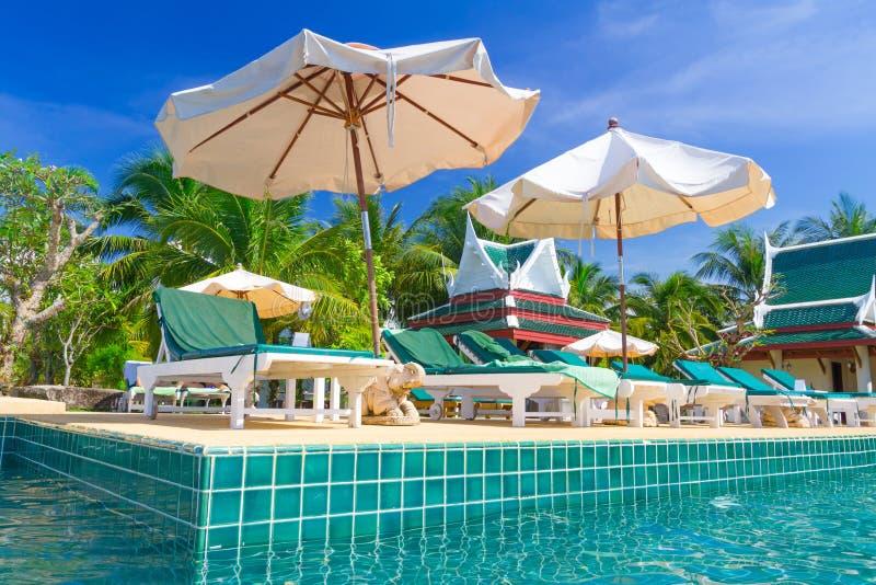 在游泳池的热带节假日 图库摄影