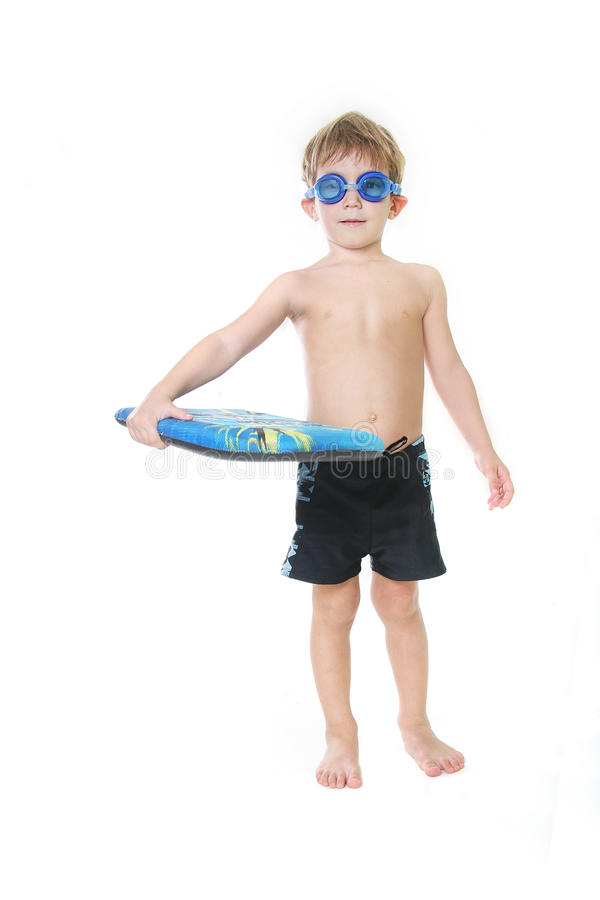 在游泳白色的董事会子项 免版税库存图片