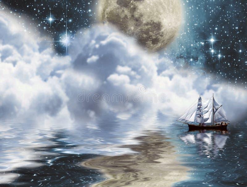 在游艇之下的月亮 库存例证