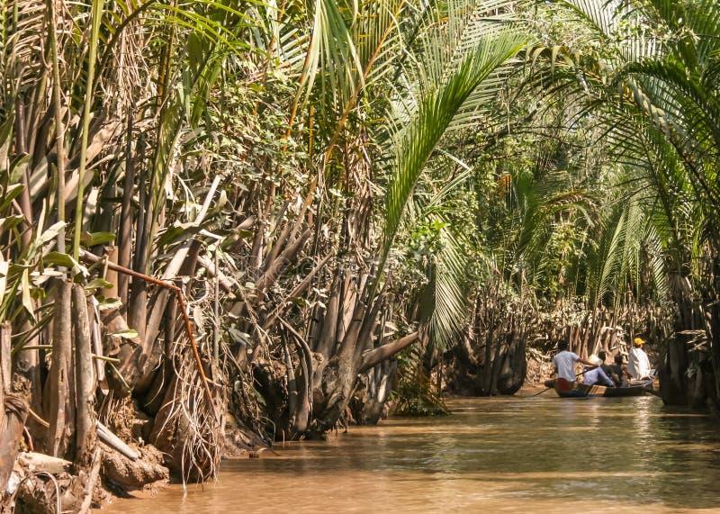 在湄公河三角洲的乘驾 免版税图库摄影