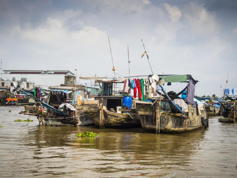 在湄公河三角洲的小船 库存照片