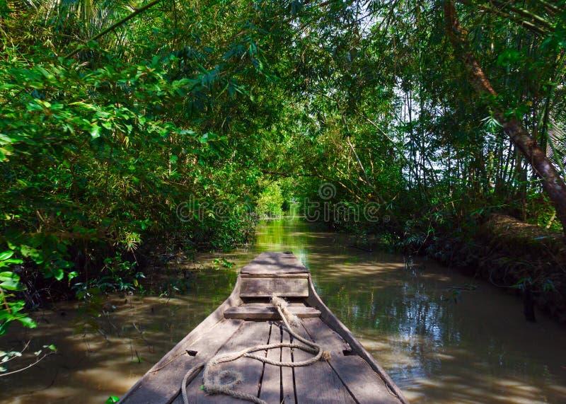 在湄公河三角洲的小船 图库摄影