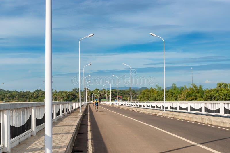 在湄公河的DoneKong桥梁在Muang Khong,老挝 免版税库存图片