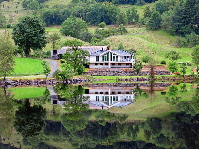 在湖反映的议院Riskedalsvatnet 免版税库存照片