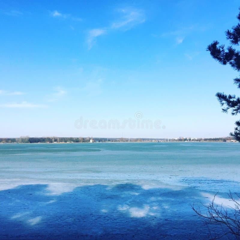 在湖和森林的冰 库存图片