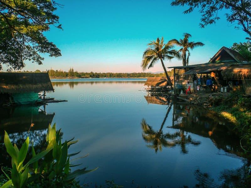 在湖在张Mai之外,泰国的棕榈树反射 免版税库存照片