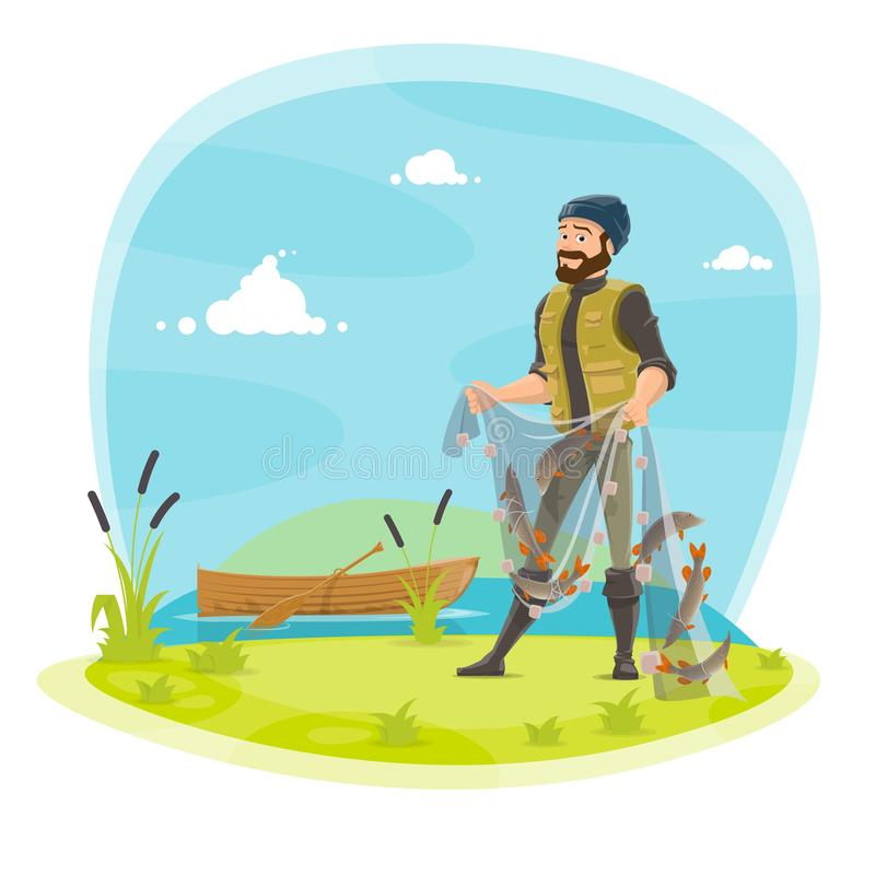 在湖导航渔夫渔和鱼捕获 皇族释放例证