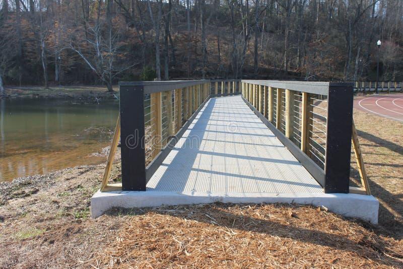 在湖岸狗公园的狭窄的桥梁 库存照片