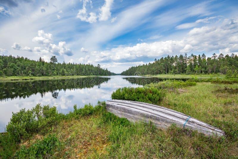 在湖岸的老木小船,围拢由不尽的杉木森林在湖反射了 免版税库存图片
