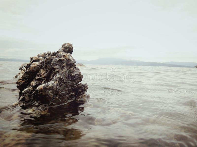 在湖户田的一块坚硬石头 免版税库存照片