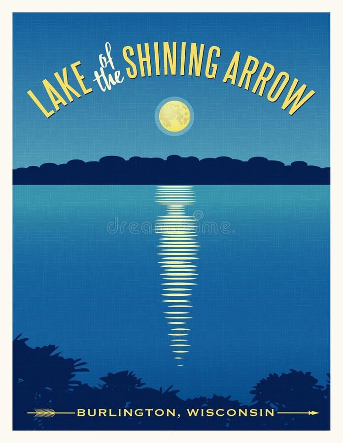 在湖旅行海报的月亮光亮的反射 向量例证