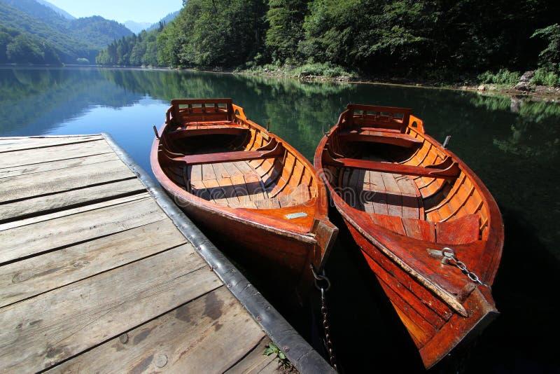 在湖的两条小船 库存照片