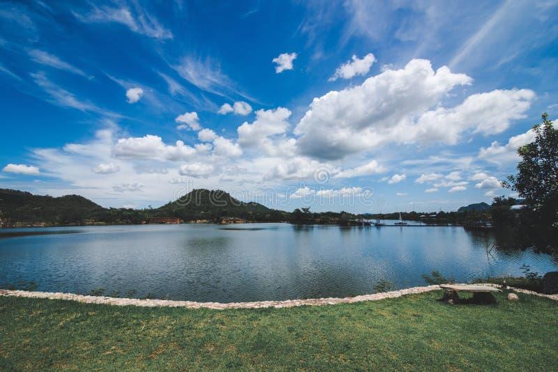 在湖的云彩和天空阴影 免版税库存图片
