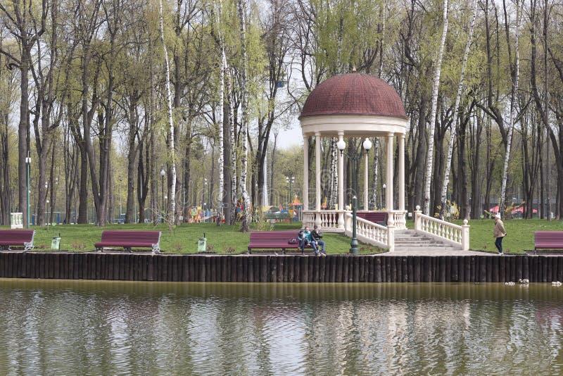 在湖的公园总是很多游人 免版税库存照片