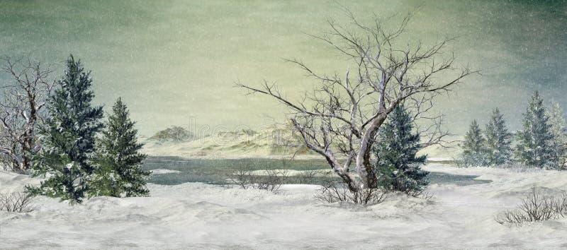 在湖的冬天 库存例证