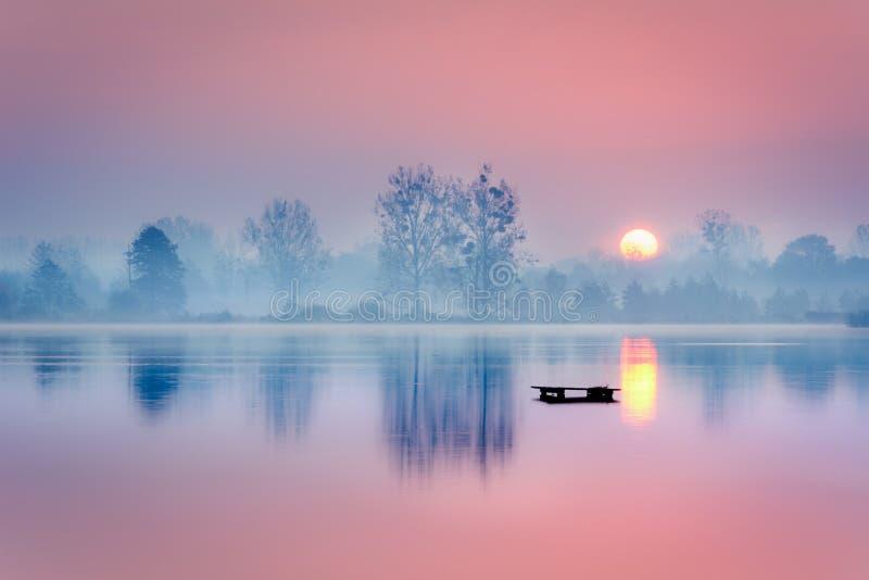 在湖的冷淡的早晨 免版税图库摄影
