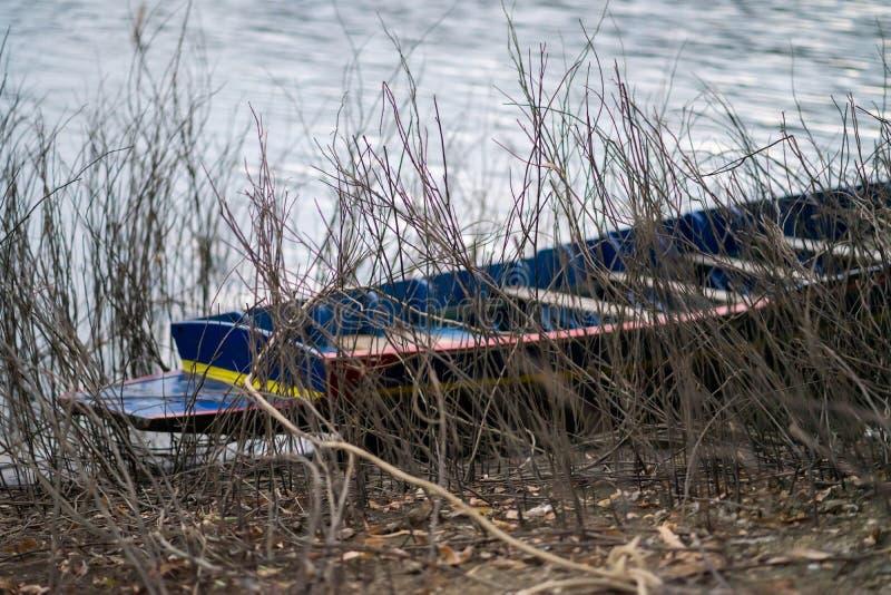 在湖的小船有小干燥木头在前景 免版税图库摄影