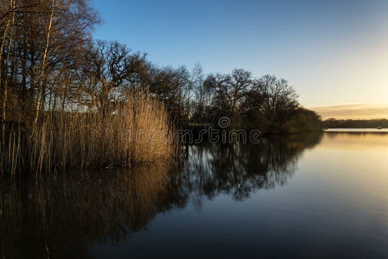 在湖的惊人的春天日出风景有反射的和 库存图片