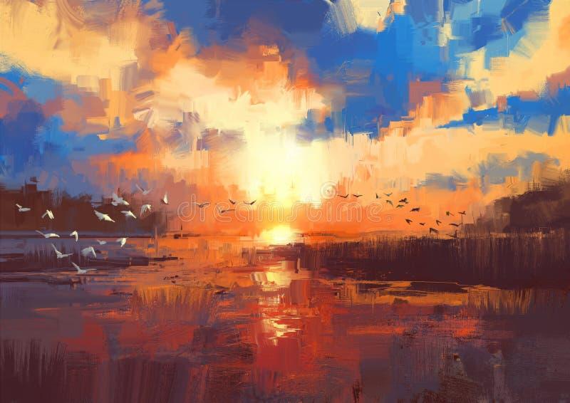 在湖的日落,例证