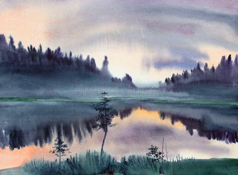 在湖的早晨雾 皇族释放例证