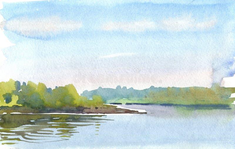 在湖的早晨 库存例证