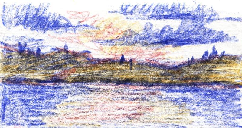 在湖的朝阳,风景 手拉的颜色铅笔例证 剪影露天 库存例证
