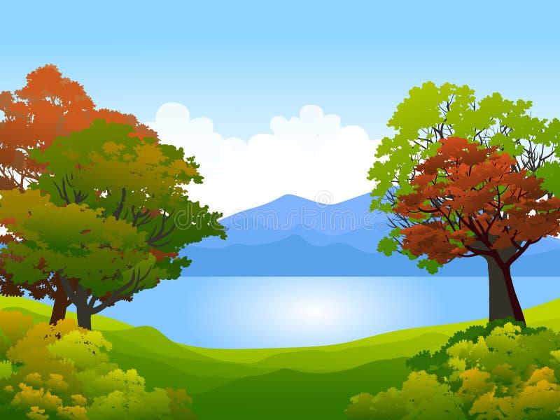 在湖的树 库存例证