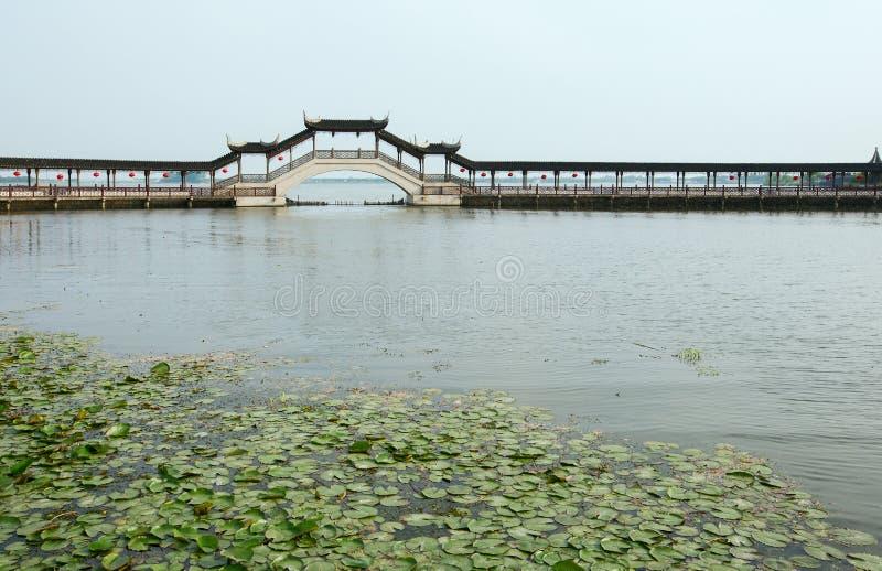 在湖的桥梁 免版税图库摄影