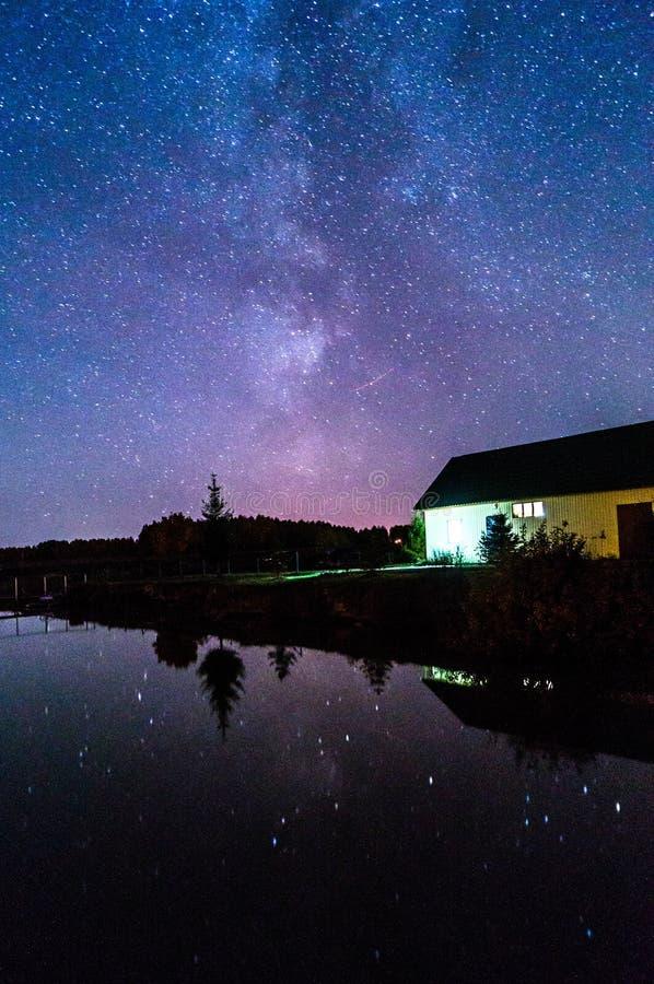 在湖的满天星斗的天空 免版税库存图片