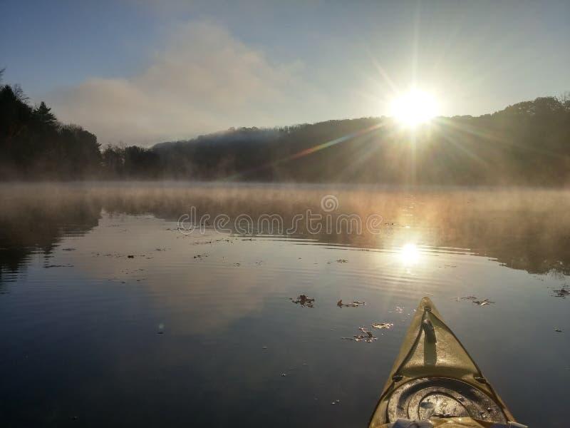 在湖的皮船 图库摄影