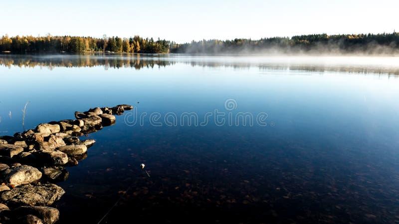 在湖的秋天有薄雾的早晨有金黄的照亮雾 图库摄影