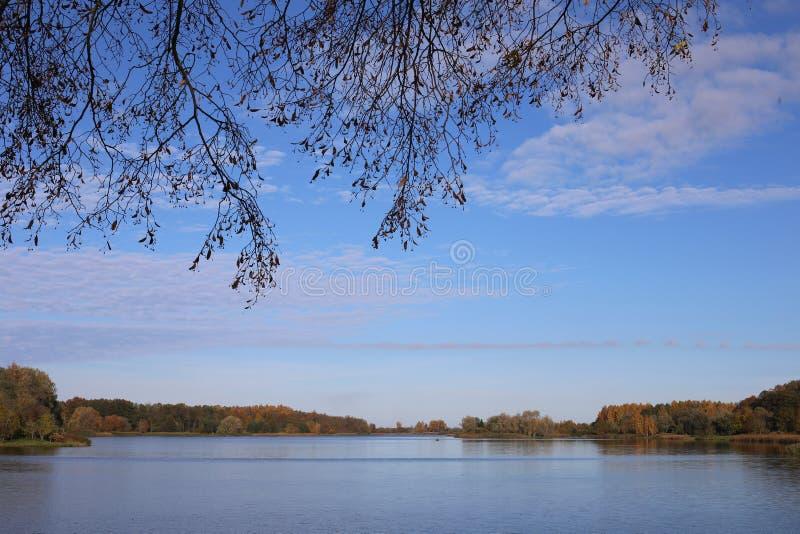 在湖的秋天风景 免版税图库摄影