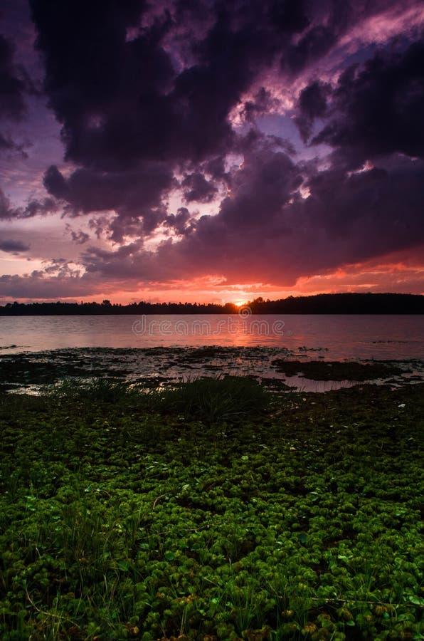 在湖的美好的日落 免版税库存图片