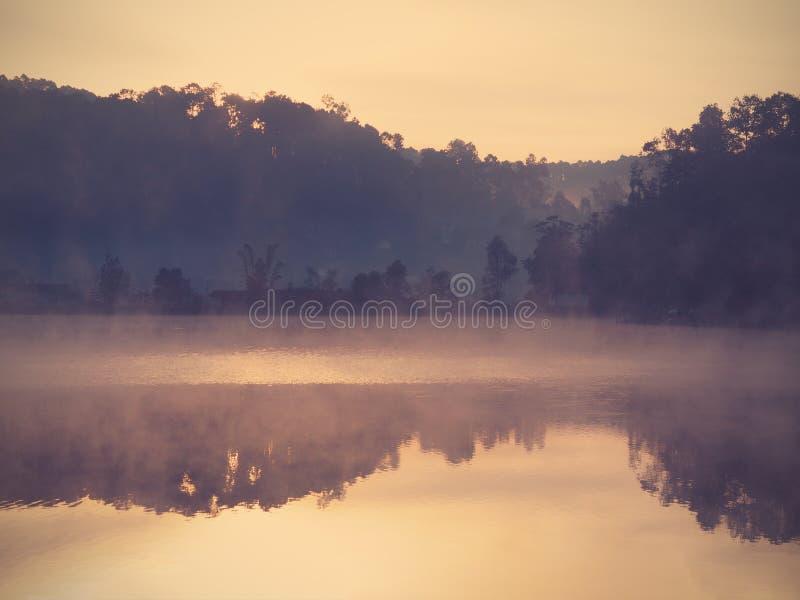 在湖的风景在太阳前上升与薄雾 库存图片
