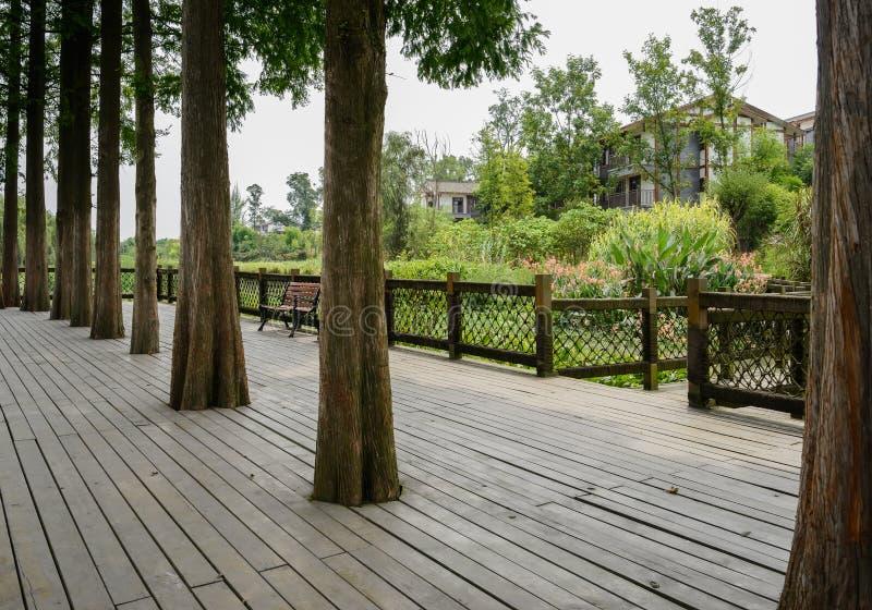 在湖边农村公寓前的Planked平台在晴朗的summe 免版税库存照片