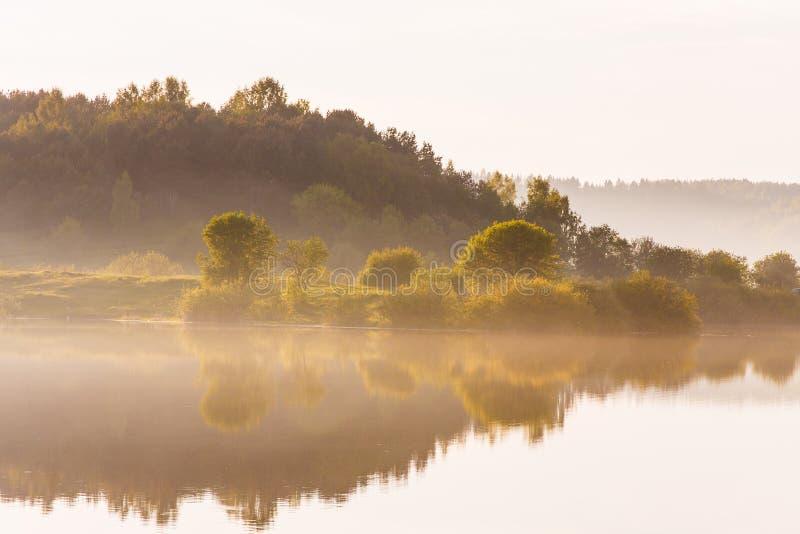 在湖附近的有雾的日出在乡下 免版税图库摄影