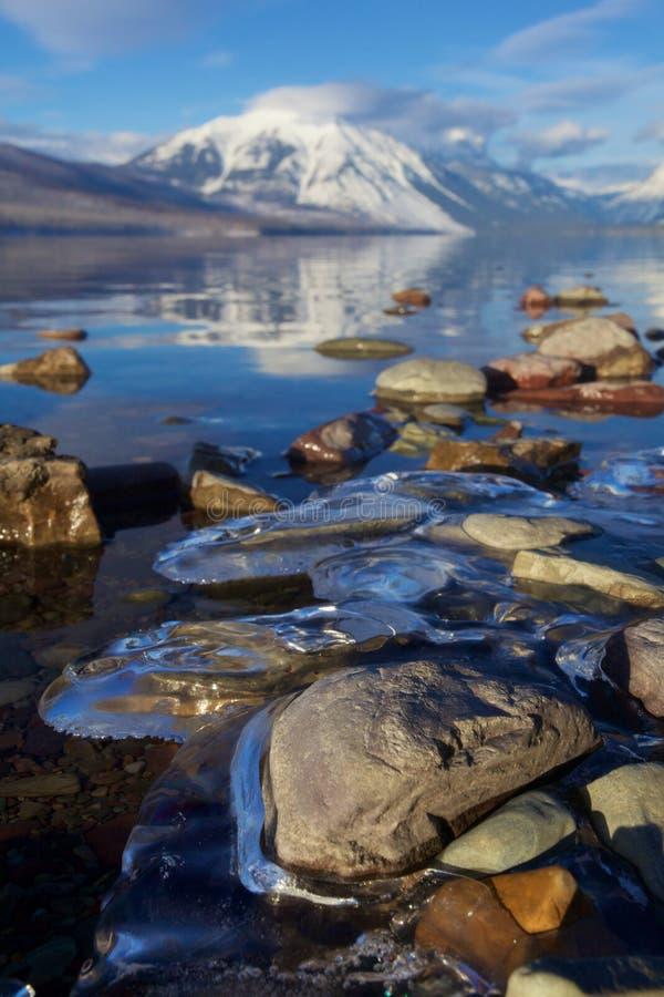 在湖麦克唐纳,蒙大拿,美国温暖的冷漠的岸的冰锁着的岩石冰川国家公园的 免版税库存图片