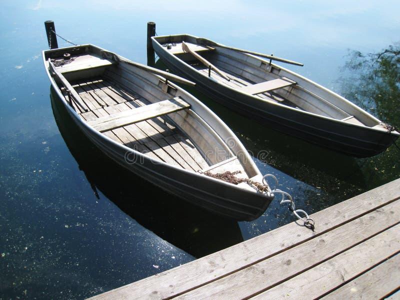 在湖18的小船 库存照片