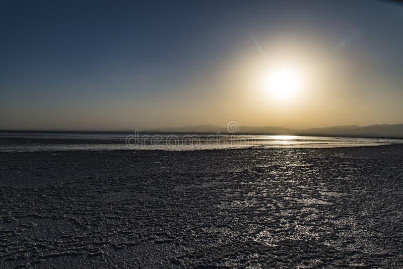 在湖Assale,埃塞俄比亚的日落 免版税库存图片