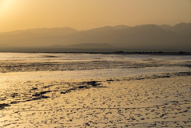 在湖Assale,埃塞俄比亚的日落 库存图片