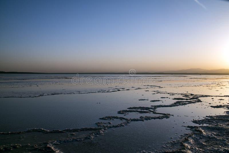 在湖Assale,埃塞俄比亚的日落 库存照片