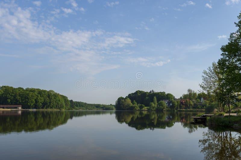 在湖Herrenteich的看法有镇静水和森林反射的 免版税库存照片