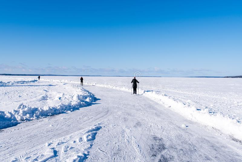 在湖Nasijarvi的游览滑冰的轨道 免版税库存图片