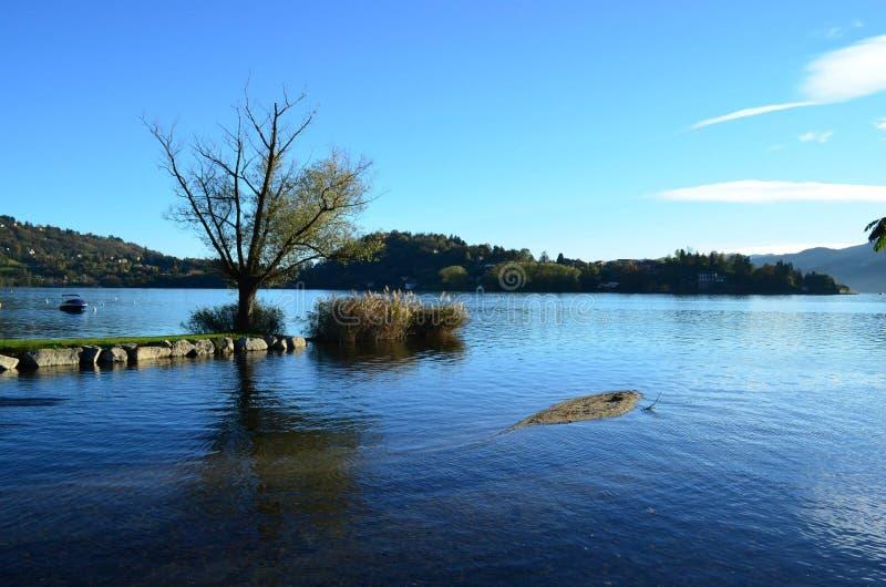 在湖Orta,意大利的风景 库存照片